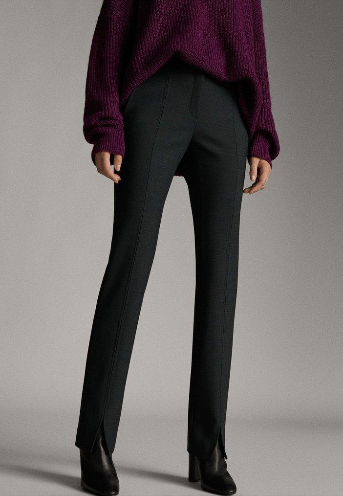 Massimo Dutti - MIT SCHLITZEN  - Trousers - dark grey