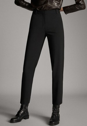 CROPPED-HOSE AUS WOLLE IM STRAIGHT-FIT 05001516 - Trousers - black