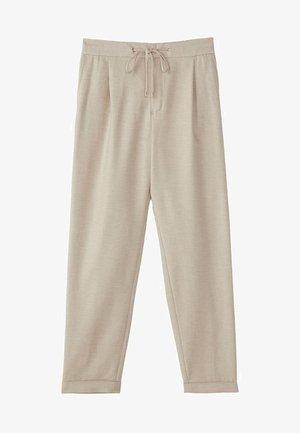 MIT SEITENSTREIFEN - Trousers - beige