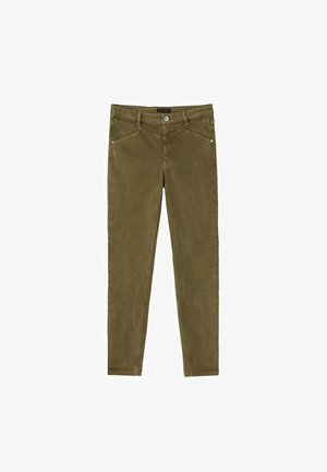 MIT STEPPNÄHTEN UND HALBHOHEM BUND  - Jeans Skinny Fit - khaki