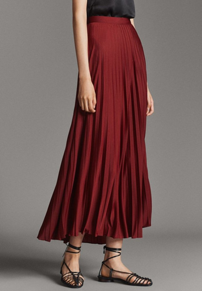 Massimo Dutti - Pleated skirt - red