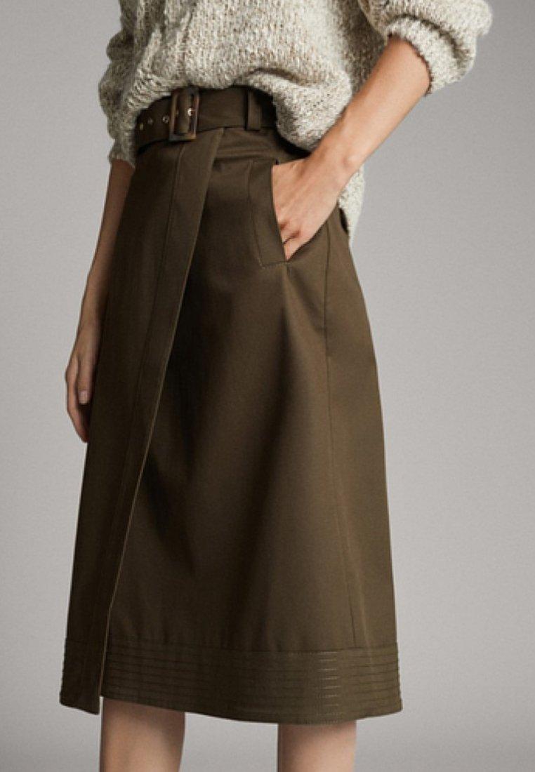 Massimo Dutti - IN WICKELOPTIK  - Wrap skirt - khaki