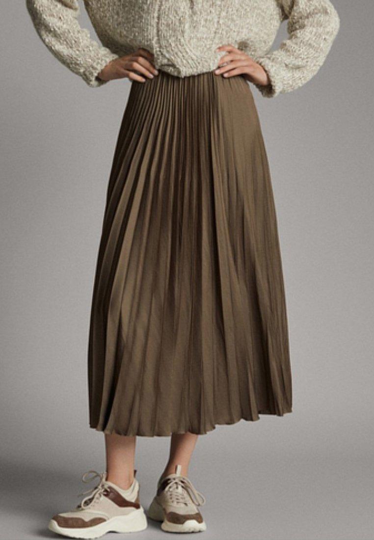 Massimo Dutti - Pliceret nederdel /Nederdele med folder - khaki