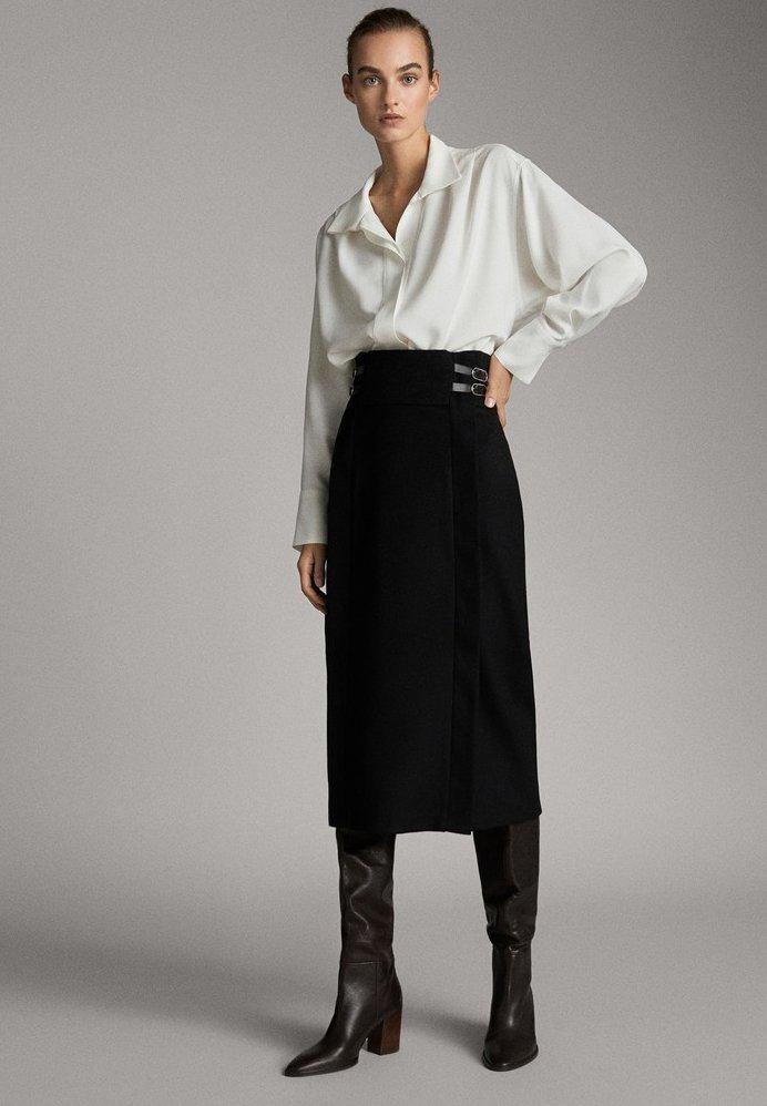 Massimo Dutti - A-line skirt - black