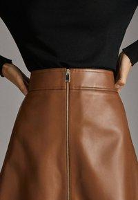 Massimo Dutti - A-line skirt - brown - 3
