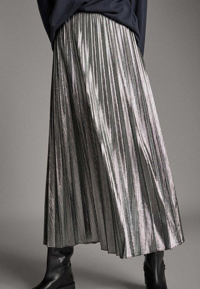 Massimo Dutti - Pleated skirt - silver