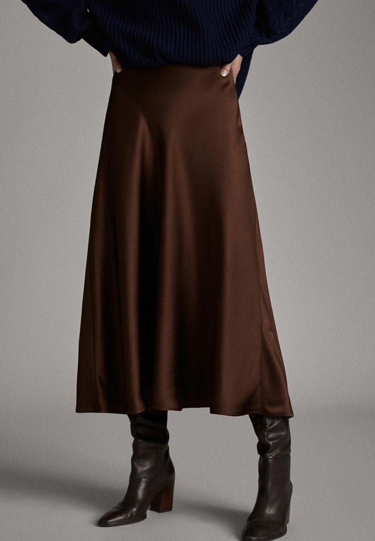 Massimo Dutti - MIDIROCK MIT SATINEFFEKT 05207527 - A-lijn rok - brown