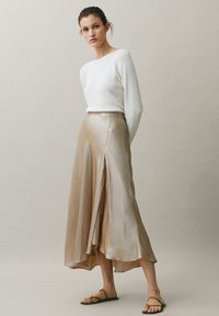 Massimo Dutti - ROCK IN LINGERIE-OPTIK 05220680 - A-line skirt - nude - 0