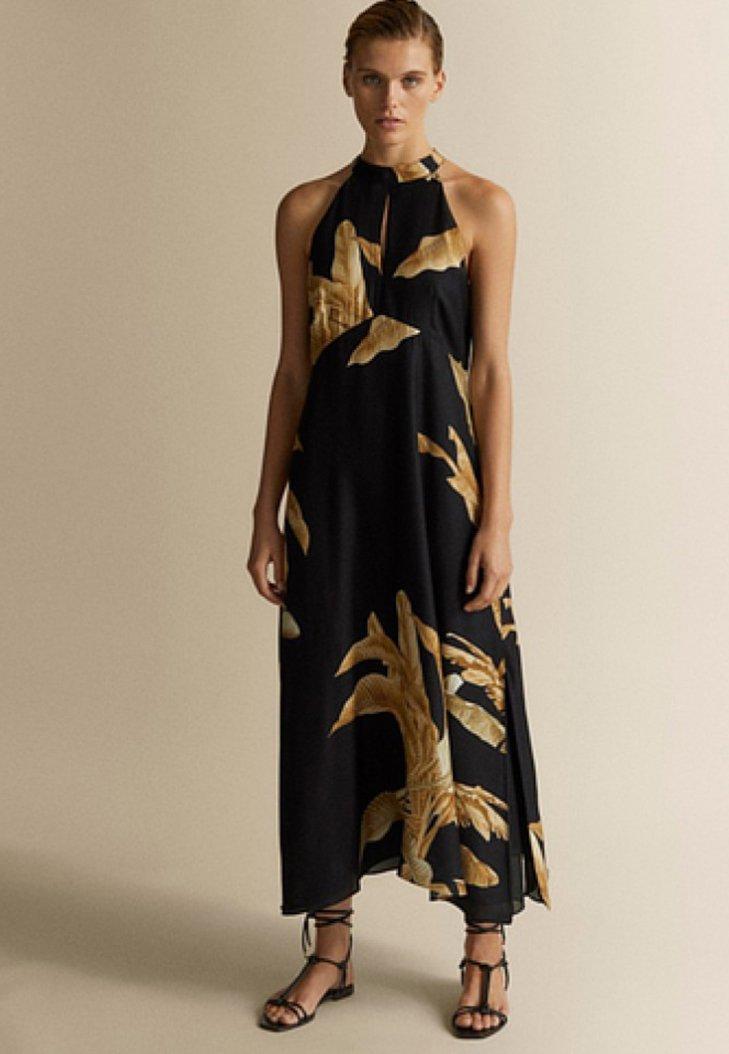Massimo Dutti - MIT PALMENPRINT - Maxi dress - black