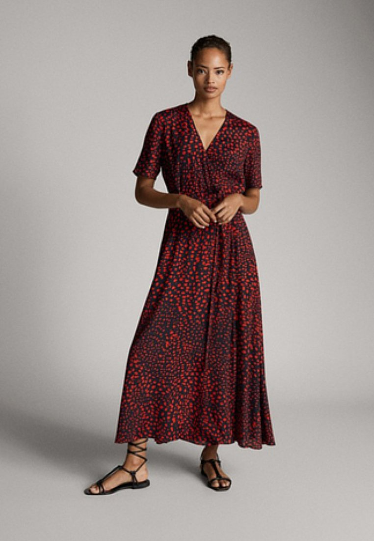 Massimo Dutti - MIT FLECKEN-PRINT - Robe longue - red