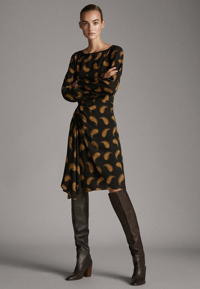 Massimo Dutti - MIT PAISLEYPRINT  - Robe d'été - black