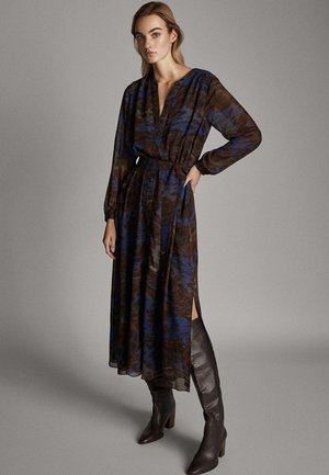 BEDRUCKTES KLEID MIT GÜRTEL 06603815 - Maxi dress - blue