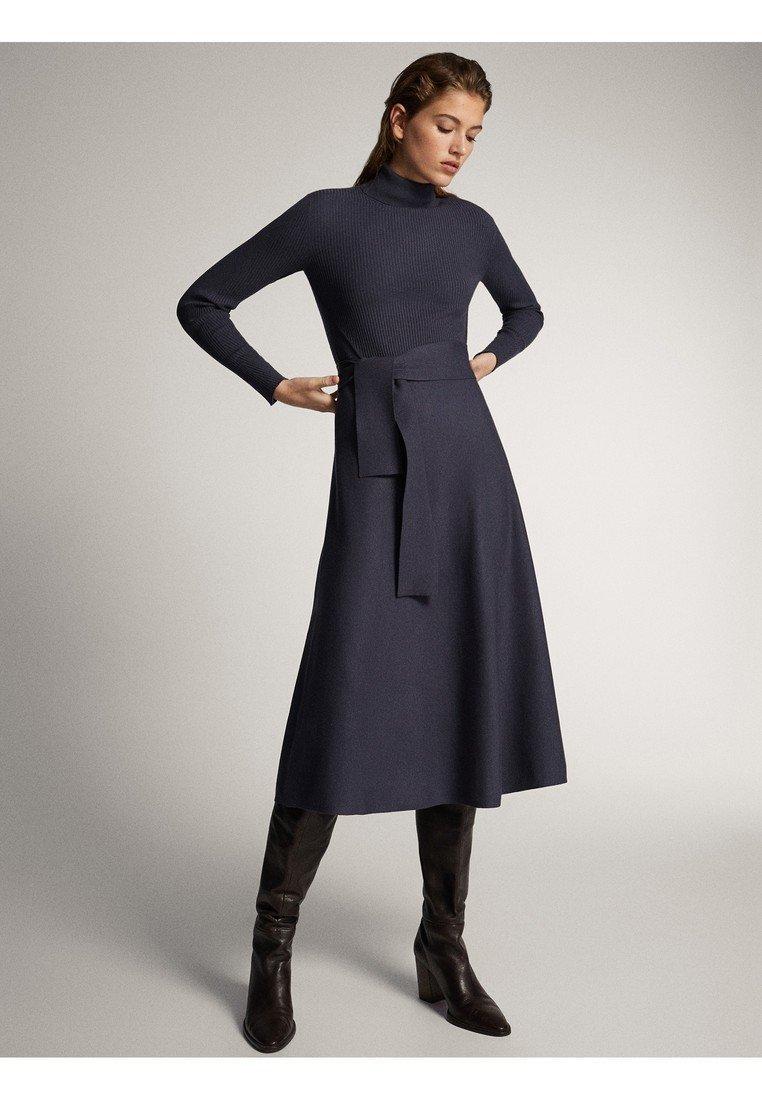 Massimo Dutti - KLEID MIT STEHKRAGEN UND GÜRTEL 06621835 - Day dress - dark grey