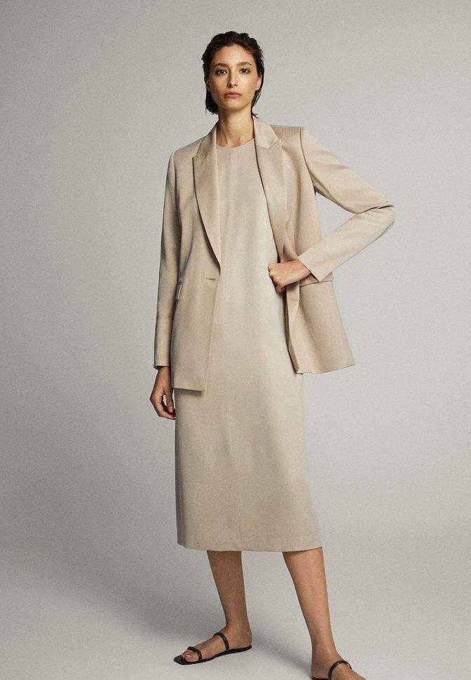 Massimo Dutti - MIT NECKHOLDER - Sukienka letnia - beige