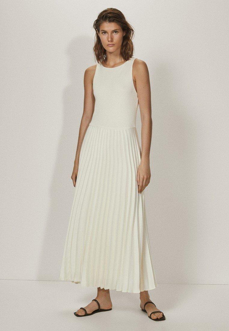 Massimo Dutti - PLISSIERTES NECKHOLDER - Długa sukienka - white