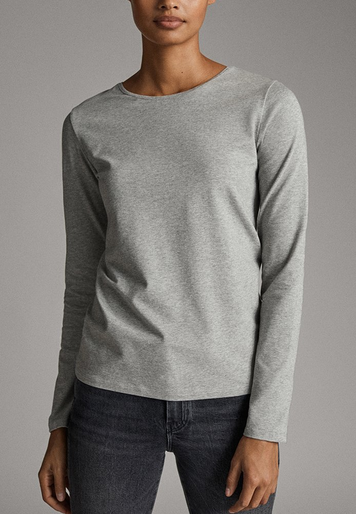 Massimo Dutti - BASIC - Long sleeved top - grey