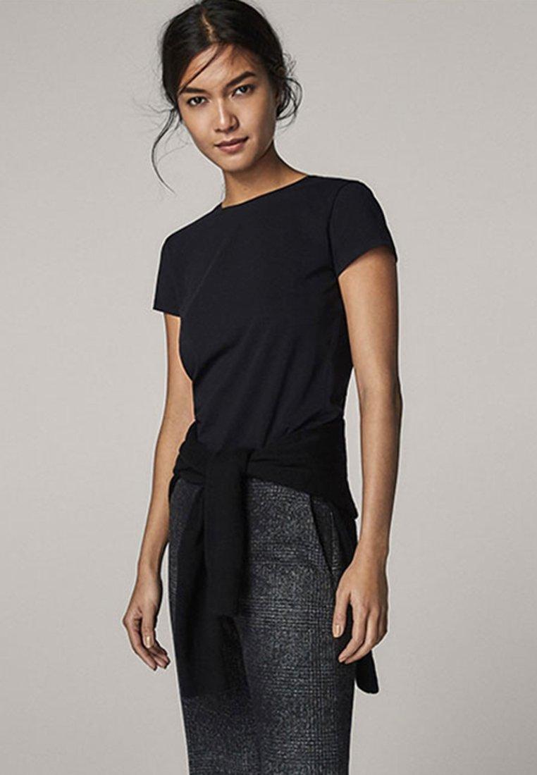 Massimo Dutti - BASIC - T-shirt - bas - black