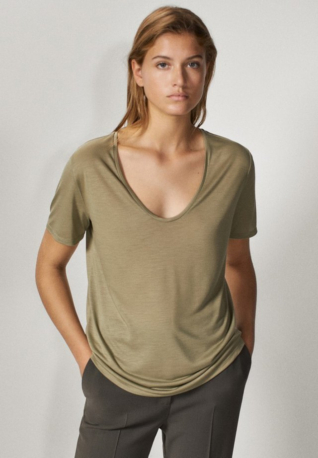 MIT METALLIC-DETAIL - Basic T-shirt - khaki