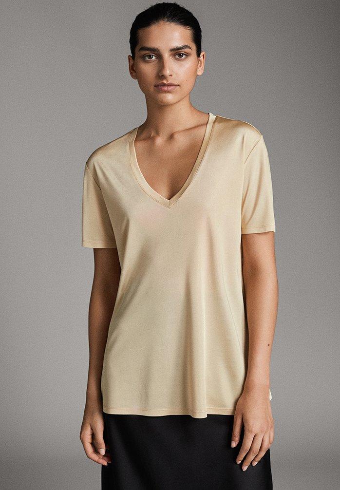 Massimo Dutti - KURZARM - T-Shirt basic - gold