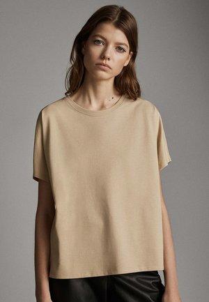 UNIFARBENES BAUMWOLLSHIRT 06812902 - T-shirt basic - beige