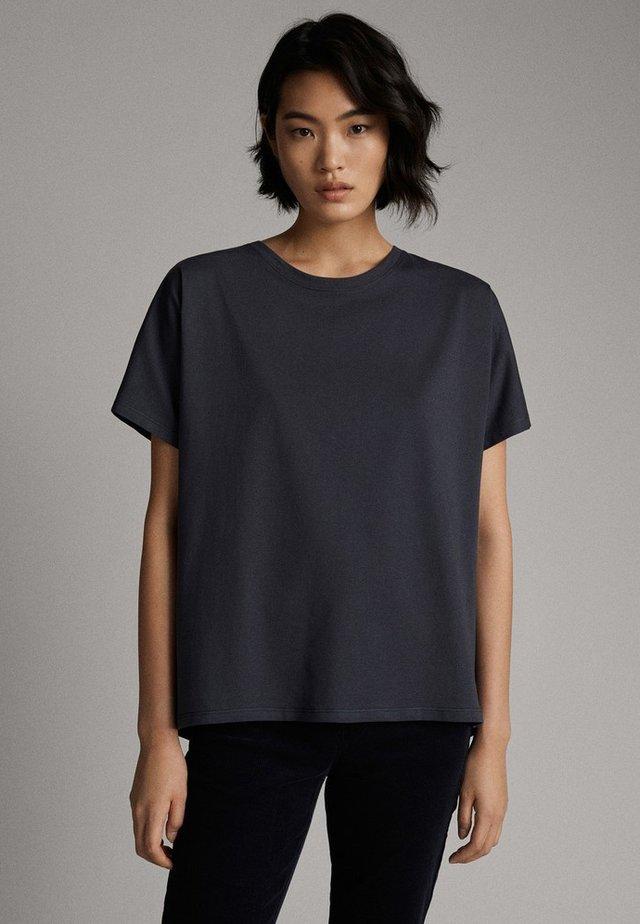 UNIFARBENES BAUMWOLLSHIRT 06812902 - T-shirt basic - dark blue