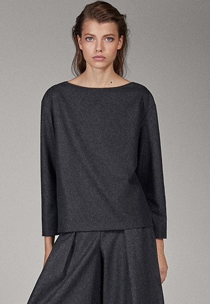 Massimo Dutti - CAMPAIGN COLLECTION - Long sleeved top - dark grey