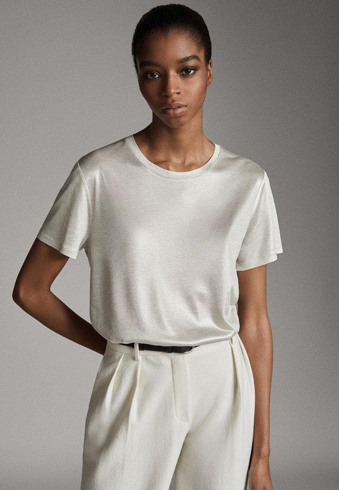 Massimo Dutti - LAMINIERTES T-SHIRT 06800502 - Basic T-shirt - silver