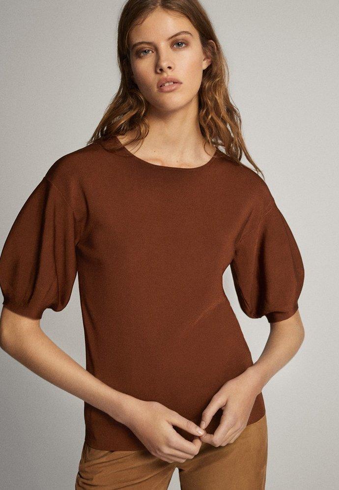 Massimo Dutti - T-shirt print - brown