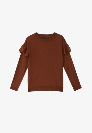 MIT BATEAU-AUSSCHNITT UND VOLANTDETAIL  - Long sleeved top - brown