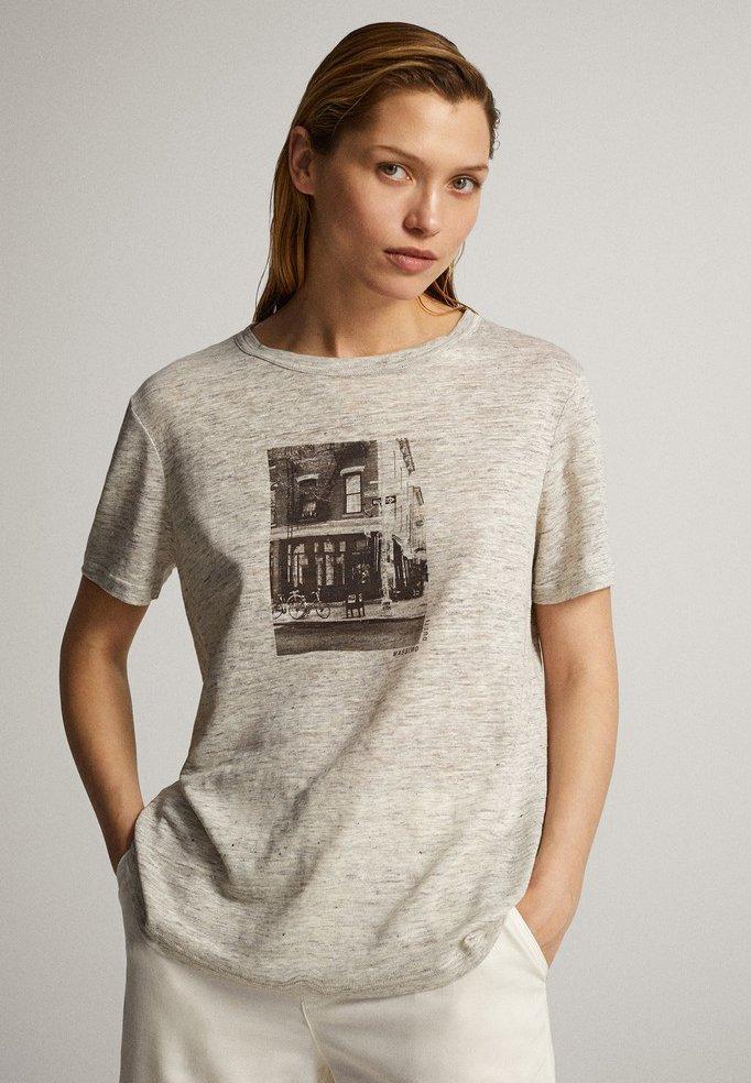 Massimo Dutti MIT AUFGEDRUCKTEM STADTMOTIV  - T-shirt z nadrukiem - grey