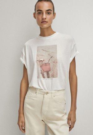 MIT FAHRRADMOTIV  - Print T-shirt - white