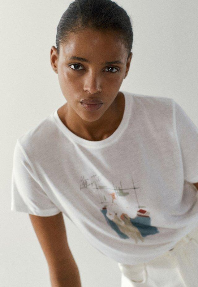 MIT ILLUSTRATION - T-shirt z nadrukiem - white