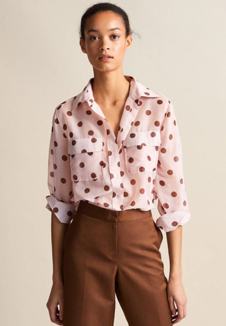 Massimo Dutti - MIT TUPFEN - Button-down blouse - neon pink