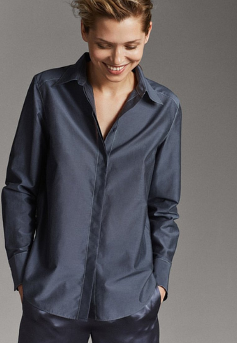 Massimo Dutti - MIT STEPPNÄHTEN  - Hemdbluse - dark blue