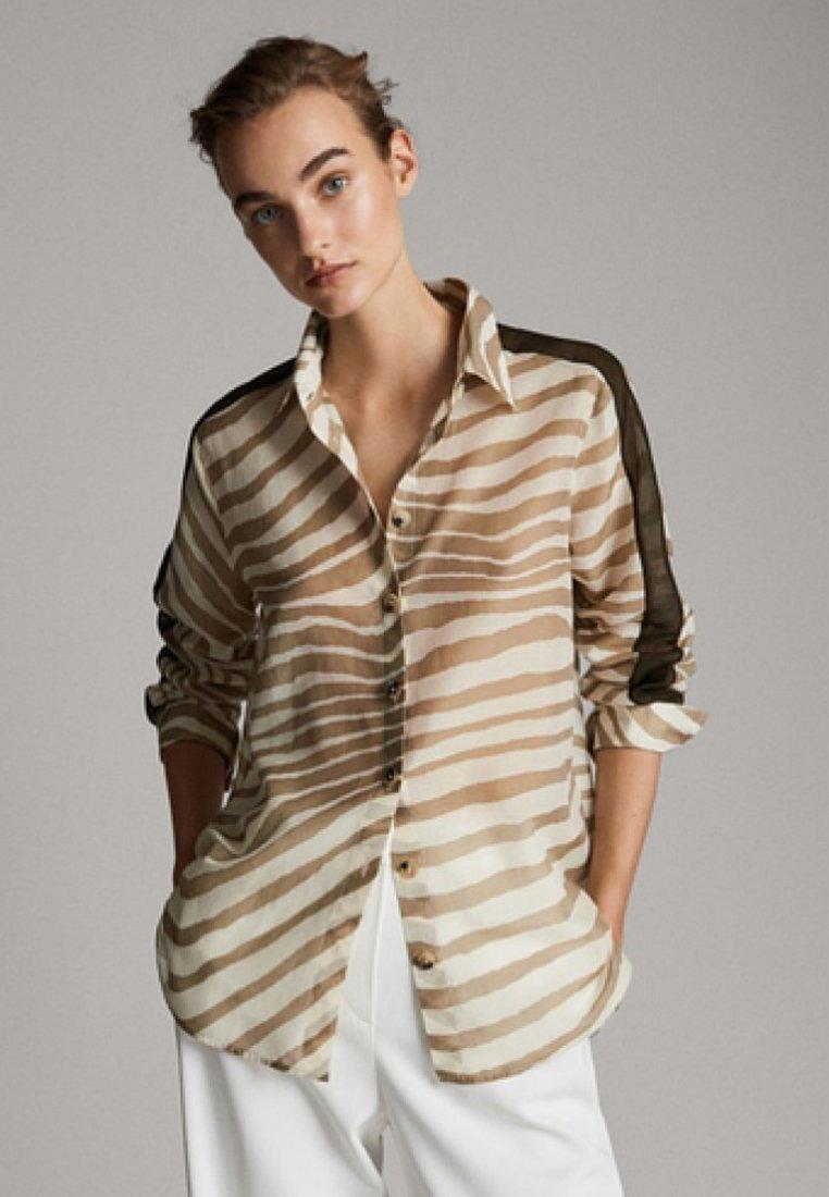 Massimo Dutti - MIT ZEBRAMUSTER UND STREIFEN - Button-down blouse - white