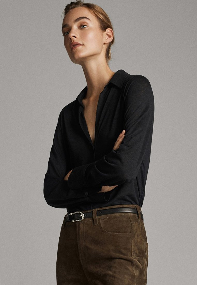 Massimo Dutti - Button-down blouse - black