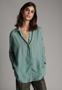 Massimo Dutti - Button-down blouse - turquoise - 0