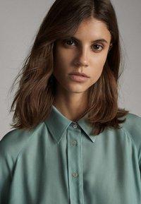 Massimo Dutti - Button-down blouse - turquoise - 4