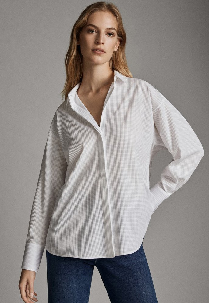 Massimo Dutti - HEMD MIT KAROSTRUKTUR 06818546 - Koszula - white