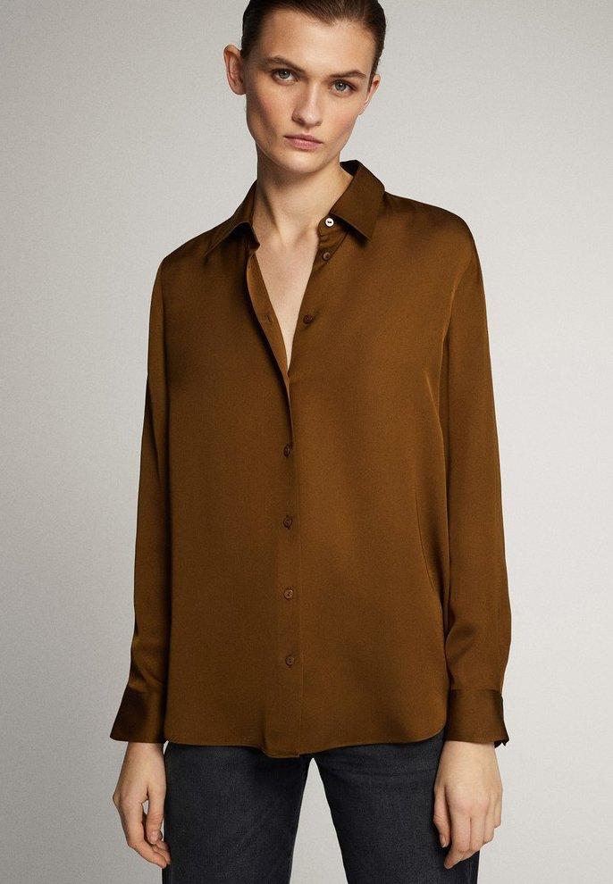 Massimo Dutti - UNIFARBENES FLIESSENDES HEMD 05111690 - Button-down blouse - khaki
