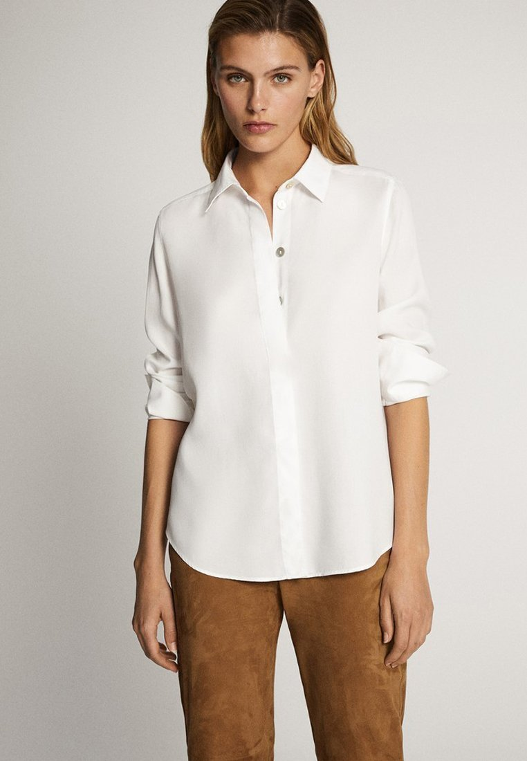 Massimo Dutti - UNIFARBENES HEMD AUS REINEM LYOCELL 05139571 - Button-down blouse - white