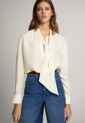 MIT SCHLEIFENDETAIL  - Button-down blouse - beige