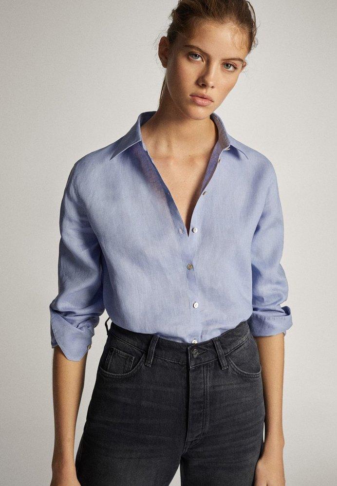 Massimo Dutti - Button-down blouse - light blue