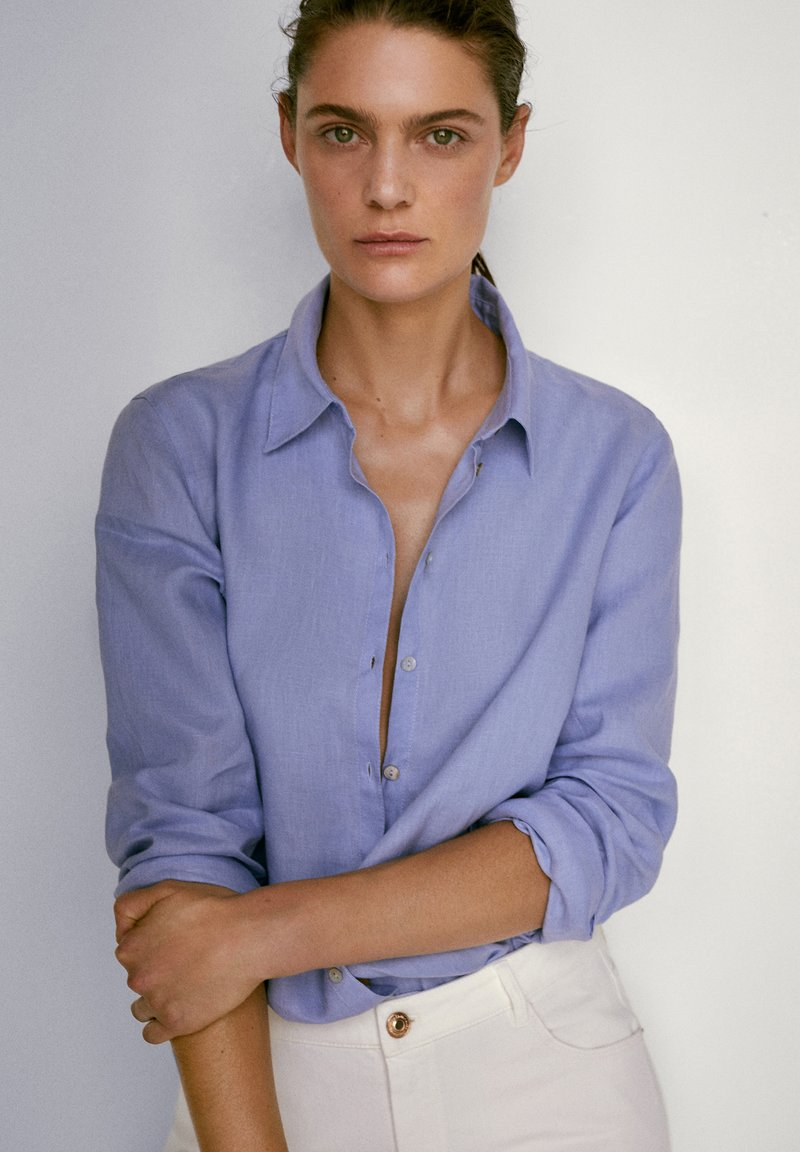 Massimo Dutti - Button-down blouse - light blue