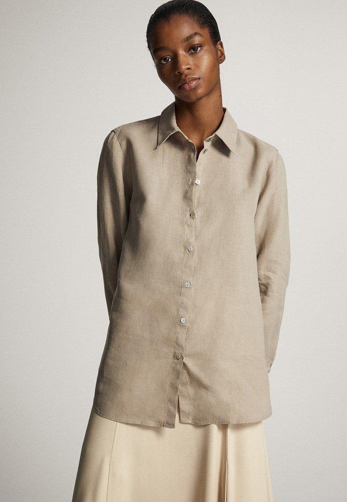 Massimo Dutti - Button-down blouse - ochre