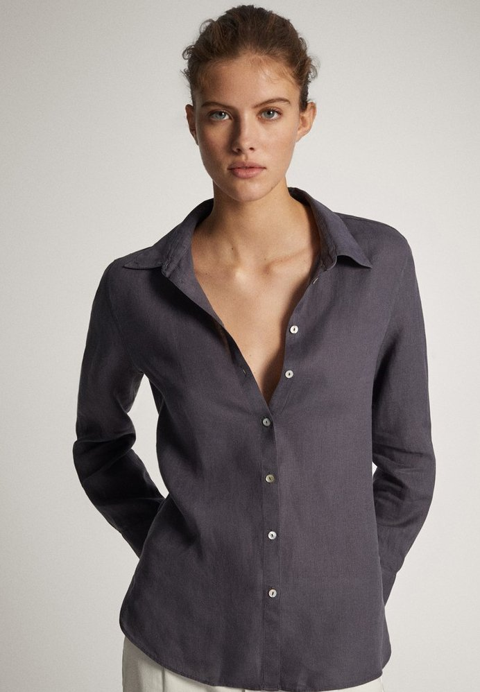 Massimo Dutti - Button-down blouse - dark purple