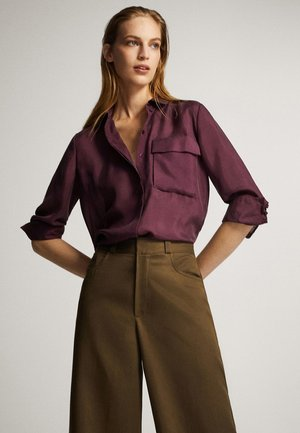 MIT ZIERTASCHE  - Button-down blouse - bordeaux