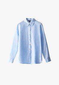Massimo Dutti - FEIN GESTREIFTES BASIC-HEMD AUS LEINEN 05102512 - Button-down blouse - light blue - 6