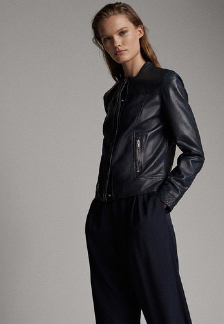 Massimo Dutti - Leather jacket - dark blue
