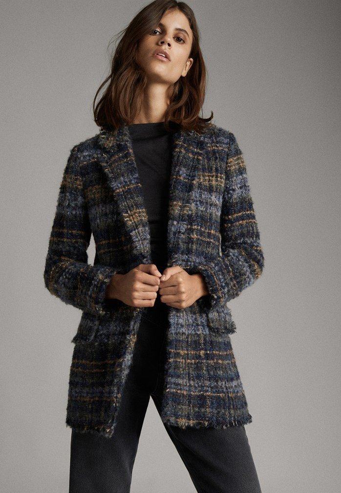 Massimo Dutti - MIT METALLICDETAILS - Short coat - blue